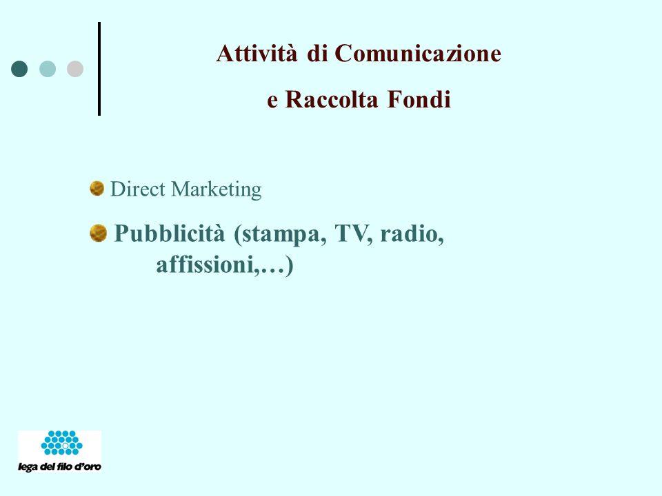 Attività di Comunicazione e Raccolta Fondi Direct Marketing Pubblicità (stampa, TV, radio, affissioni,…)