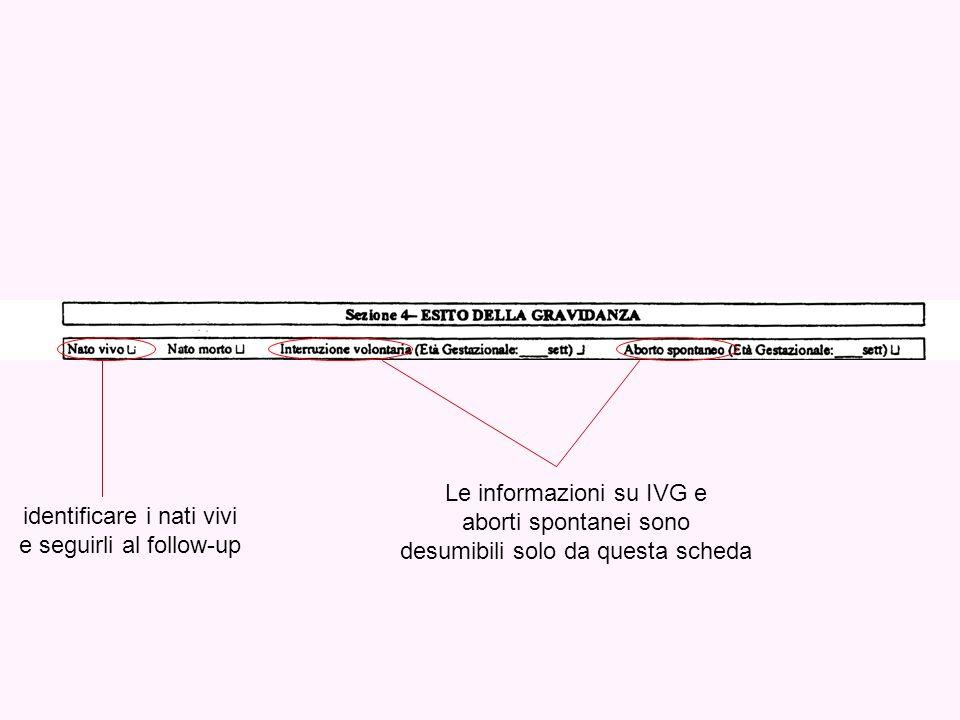 Le informazioni su IVG e aborti spontanei sono desumibili solo da questa scheda identificare i nati vivi e seguirli al follow-up