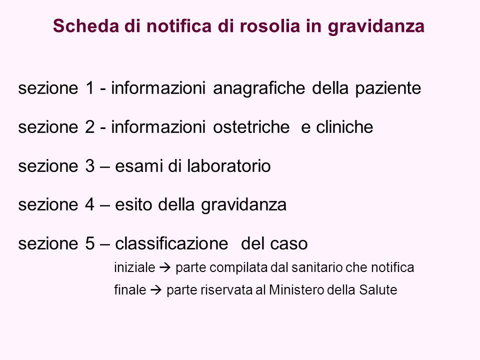 Scheda di notifica di rosolia in gravidanza sezione 1 - informazioni anagrafiche della paziente sezione 2 - informazioni ostetriche e cliniche sezione