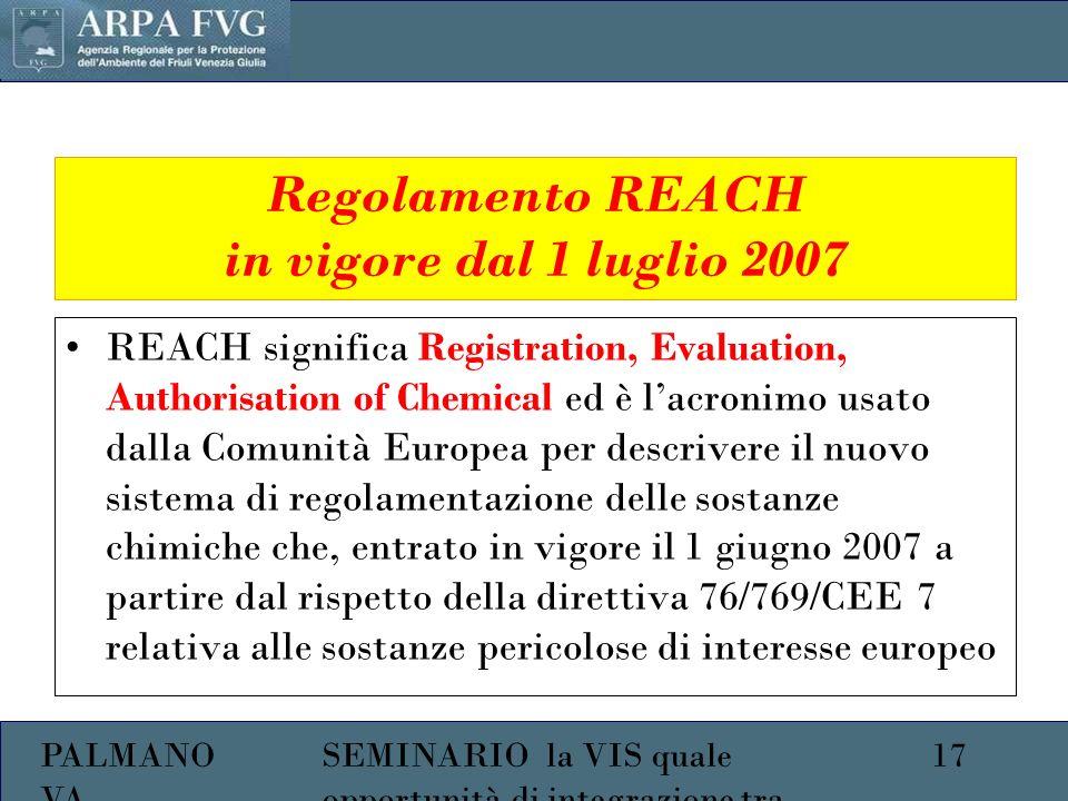 PALMANO VA 17SEMINARIO la VIS quale opportunità di integrazione tra ambiente e salute Regolamento REACH in vigore dal 1 luglio 2007 REACH significa Registration, Evaluation, Authorisation of Chemical ed è lacronimo usato dalla Comunità Europea per descrivere il nuovo sistema di regolamentazione delle sostanze chimiche che, entrato in vigore il 1 giugno 2007 a partire dal rispetto della direttiva 76/769/CEE 7 relativa alle sostanze pericolose di interesse europeo
