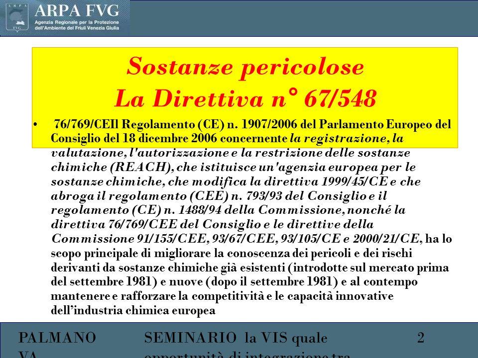 PALMANO VA 2SEMINARIO la VIS quale opportunità di integrazione tra ambiente e salute Sostanze pericolose La Direttiva n° 67/548 76/769/CEIl Regolamento (CE) n.