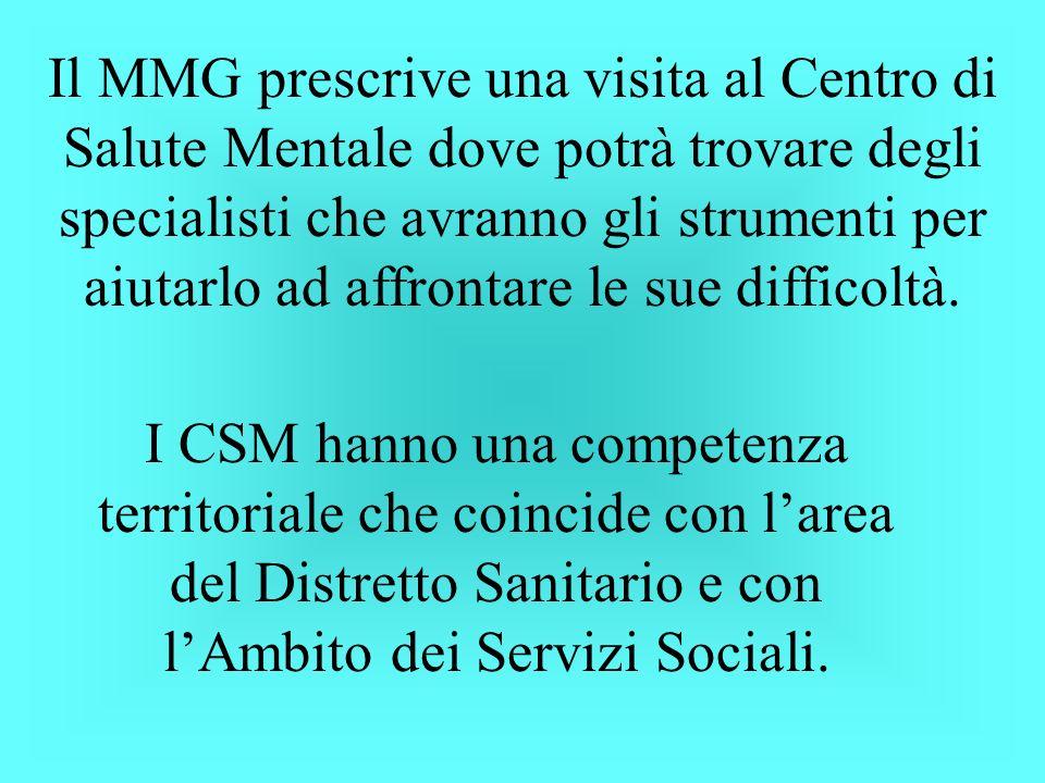 Il MMG prescrive una visita al Centro di Salute Mentale dove potrà trovare degli specialisti che avranno gli strumenti per aiutarlo ad affrontare le s