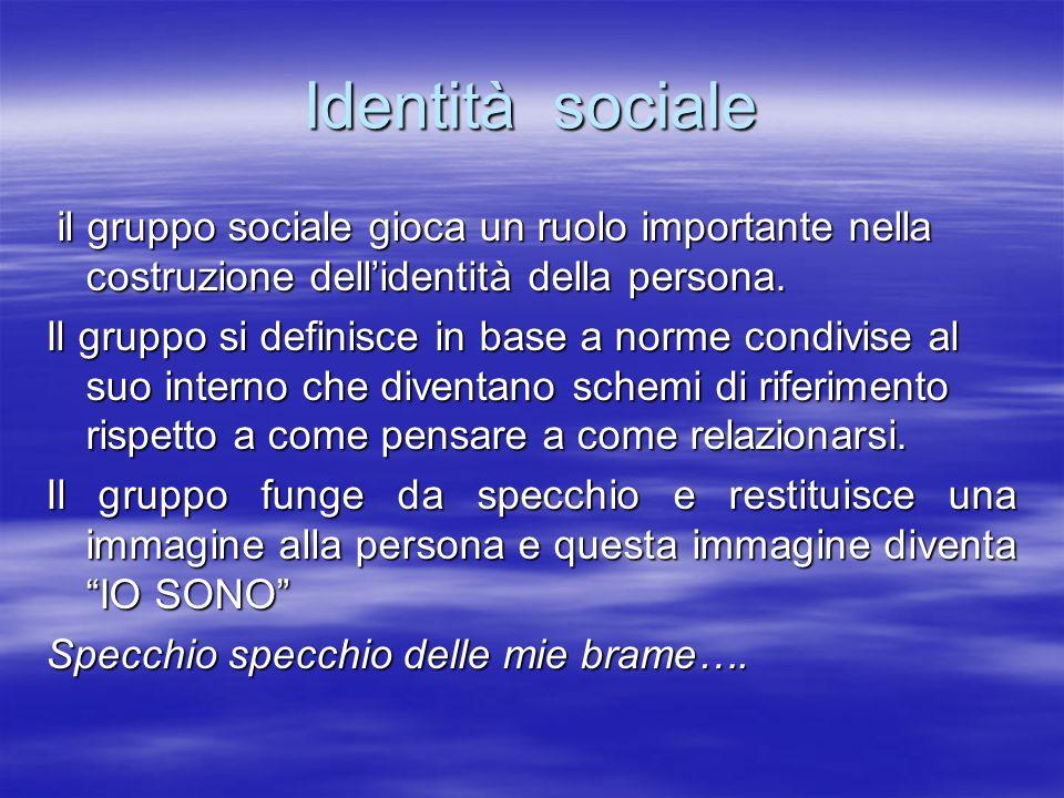 Identità sociale il gruppo sociale gioca un ruolo importante nella costruzione dellidentità della persona. il gruppo sociale gioca un ruolo importante