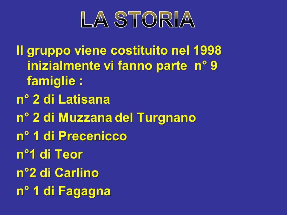 Il gruppo viene costituito nel 1998 inizialmente vi fanno parte n° 9 famiglie : n° 2 di Latisana n° 2 di Muzzana del Turgnano n° 1 di Precenicco n°1 di Teor n°2 di Carlino n° 1 di Fagagna