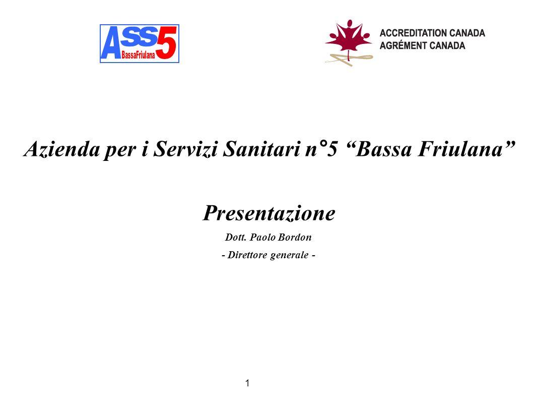 Azienda per i Servizi Sanitari n°5 Bassa Friulana Presentazione Dott. Paolo Bordon - Direttore generale - 1