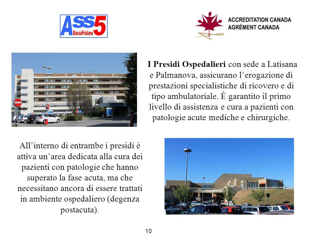 I Presidi Ospedalieri con sede a Latisana e Palmanova, assicurano lerogazione di prestazioni specialistiche di ricovero e di tipo ambulatoriale. È gar