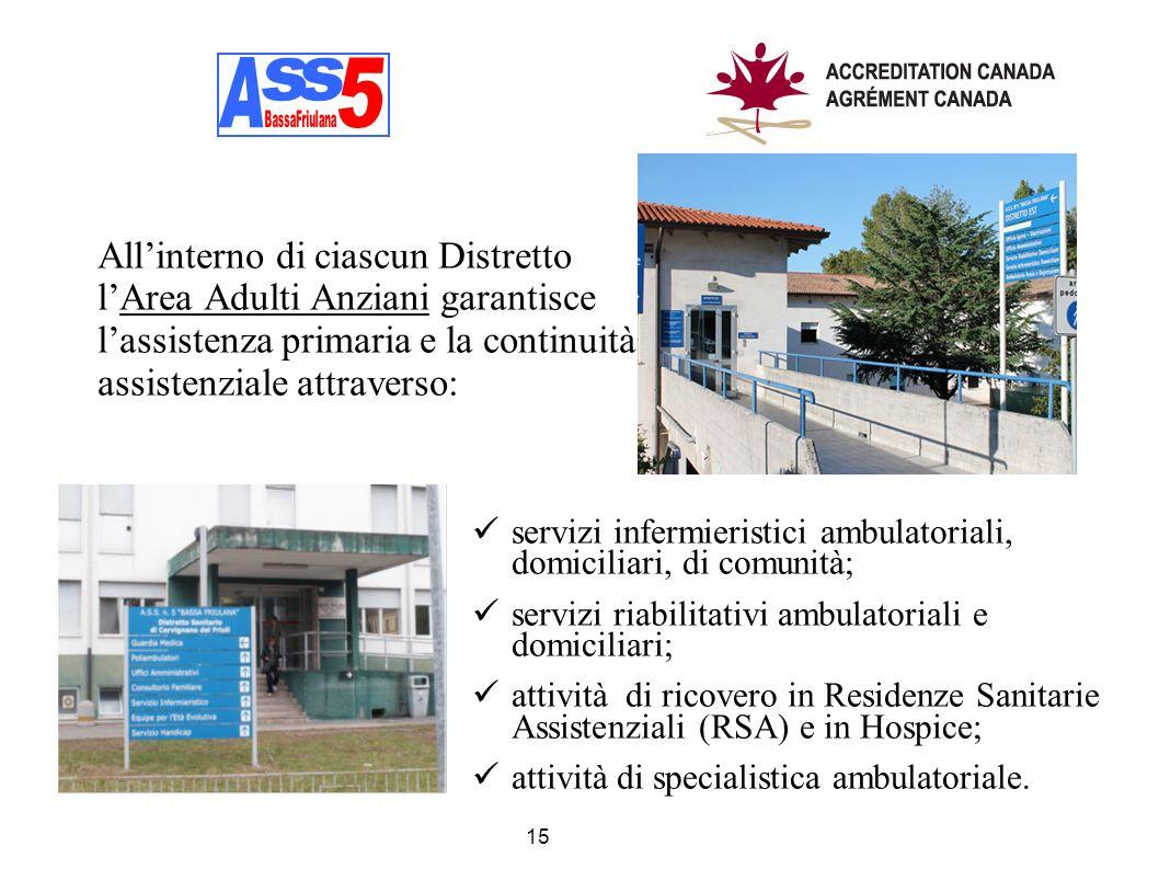 Allinterno di ciascun Distretto lArea Adulti Anziani garantisce lassistenza primaria e la continuità assistenziale attraverso: 15 servizi infermierist