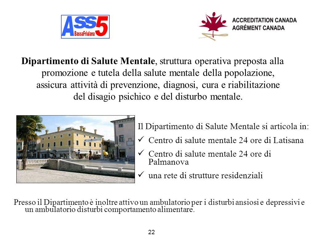Il Dipartimento di Salute Mentale si articola in: Centro di salute mentale 24 ore di Latisana Centro di salute mentale 24 ore di Palmanova una rete di