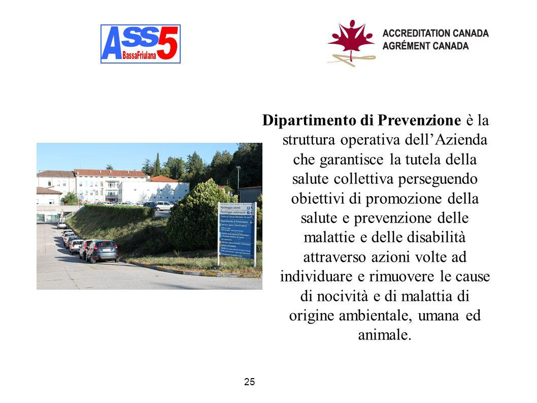 25 Dipartimento di Prevenzione è la struttura operativa dellAzienda che garantisce la tutela della salute collettiva perseguendo obiettivi di promozio