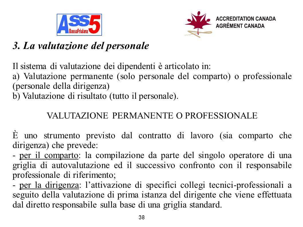 38 3. La valutazione del personale Il sistema di valutazione dei dipendenti è articolato in: a) Valutazione permanente (solo personale del comparto) o