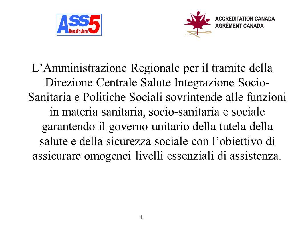 LAmministrazione Regionale per il tramite della Direzione Centrale Salute Integrazione Socio- Sanitaria e Politiche Sociali sovrintende alle funzioni