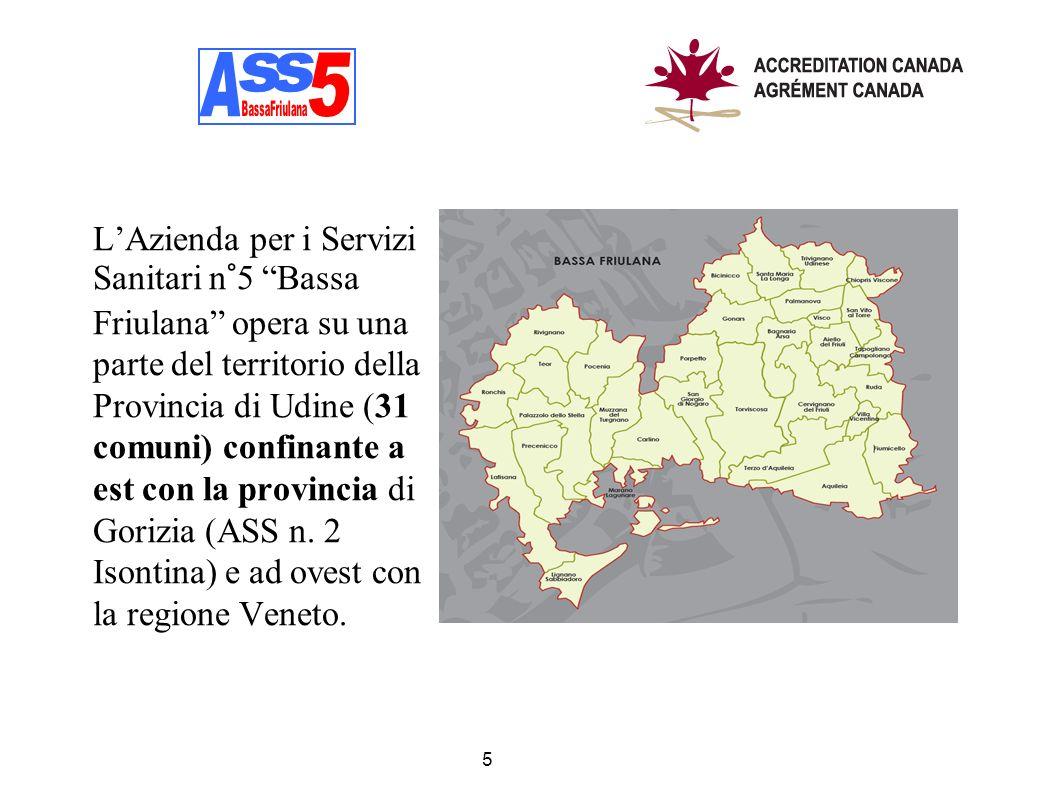 LAzienda per i Servizi Sanitari n°5 Bassa Friulana opera su una parte del territorio della Provincia di Udine (31 comuni) confinante a est con la prov