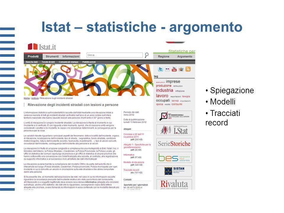 Istat – statistiche - argomento Spiegazione Modelli Tracciati record