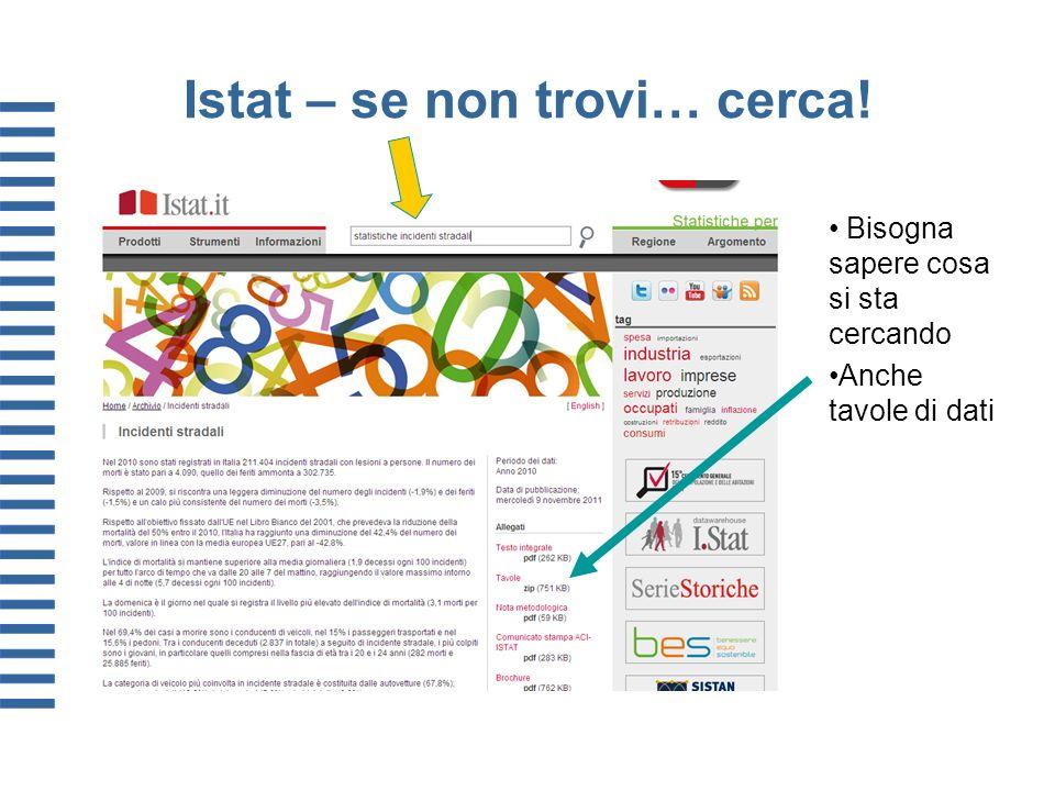 Istat – se non trovi… cerca! Bisogna sapere cosa si sta cercando Anche tavole di dati
