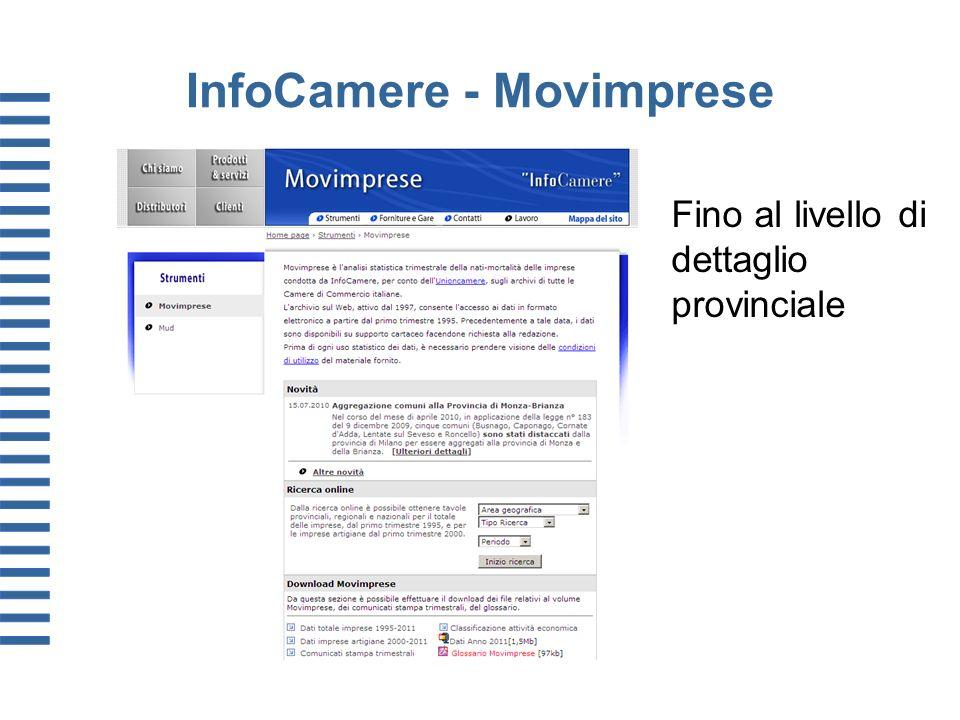 InfoCamere - Movimprese Fino al livello di dettaglio provinciale