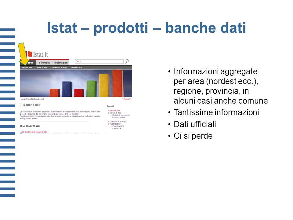 Istat – prodotti – banche dati Informazioni aggregate per area (nordest ecc.), regione, provincia, in alcuni casi anche comune Tantissime informazioni