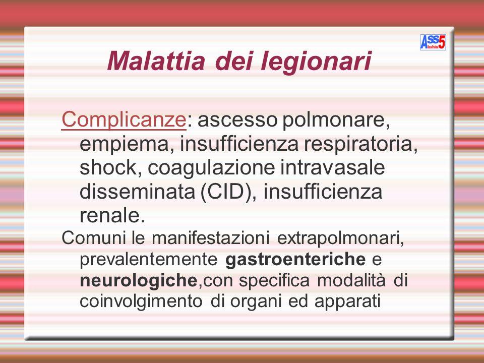 Malattia dei legionari Complicanze: ascesso polmonare, empiema, insufficienza respiratoria, shock, coagulazione intravasale disseminata (CID), insuffi