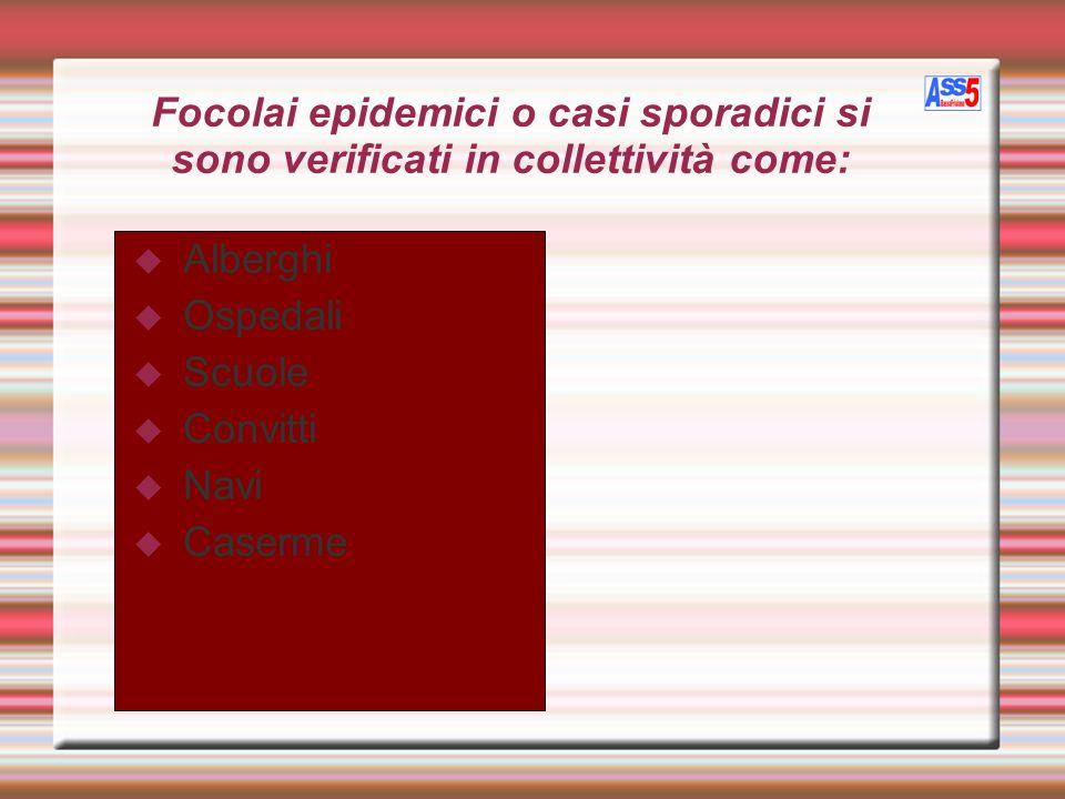 Focolai epidemici o casi sporadici si sono verificati in collettività come: Alberghi Ospedali Scuole Convitti Navi Caserme