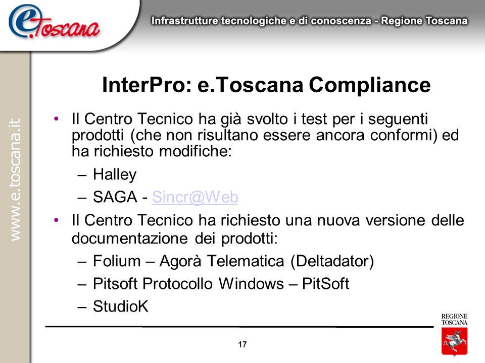 17 InterPro: e.Toscana Compliance Il Centro Tecnico ha già svolto i test per i seguenti prodotti (che non risultano essere ancora conformi) ed ha rich