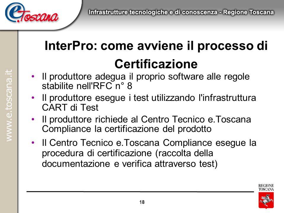 18 InterPro: come avviene il processo di Certificazione Il produttore adegua il proprio software alle regole stabilite nell'RFC n° 8 Il produttore ese