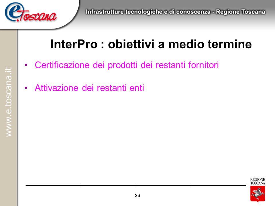 26 InterPro : obiettivi a medio termine Certificazione dei prodotti dei restanti fornitori Attivazione dei restanti enti