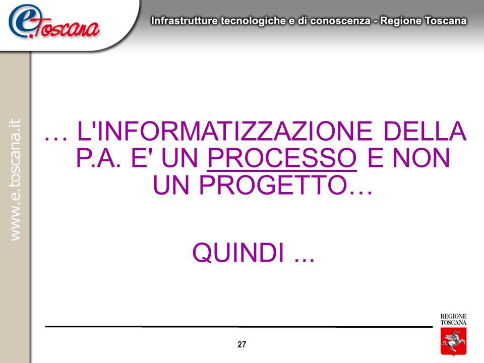 27 … L'INFORMATIZZAZIONE DELLA P.A. E' UN PROCESSO E NON UN PROGETTO… QUINDI...