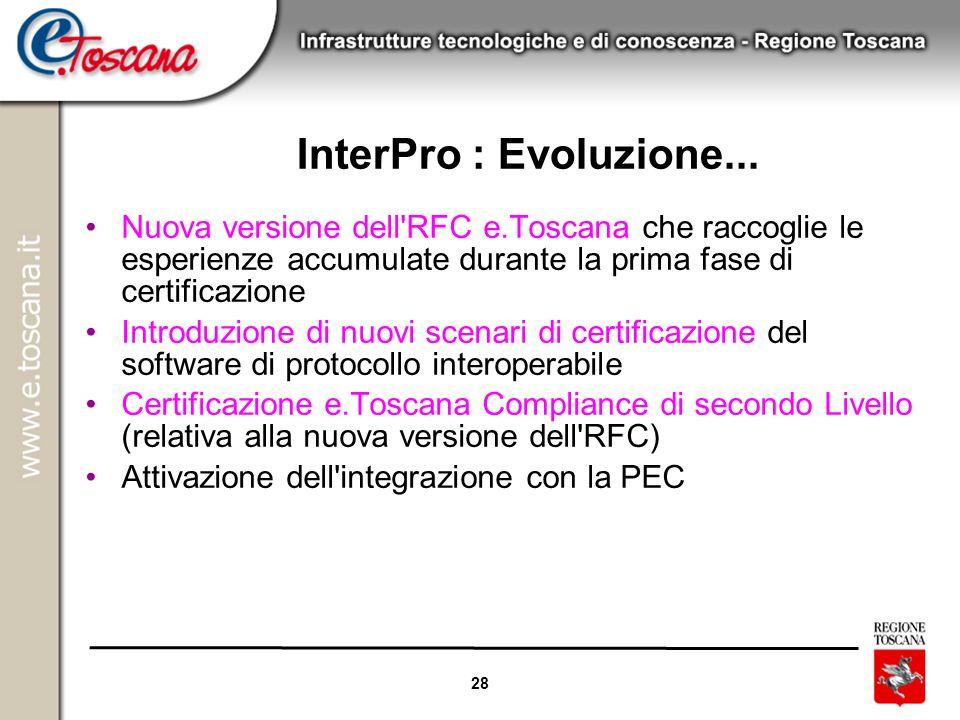 28 InterPro : Evoluzione... Nuova versione dell'RFC e.Toscana che raccoglie le esperienze accumulate durante la prima fase di certificazione Introduzi