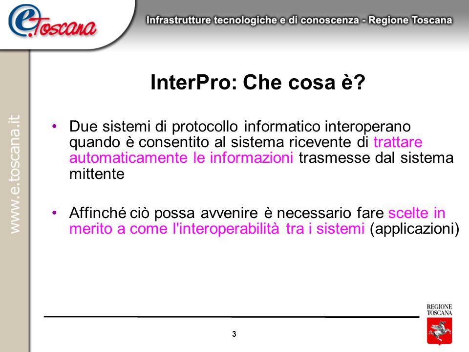 3 InterPro: Che cosa è? Due sistemi di protocollo informatico interoperano quando è consentito al sistema ricevente di trattare automaticamente le inf