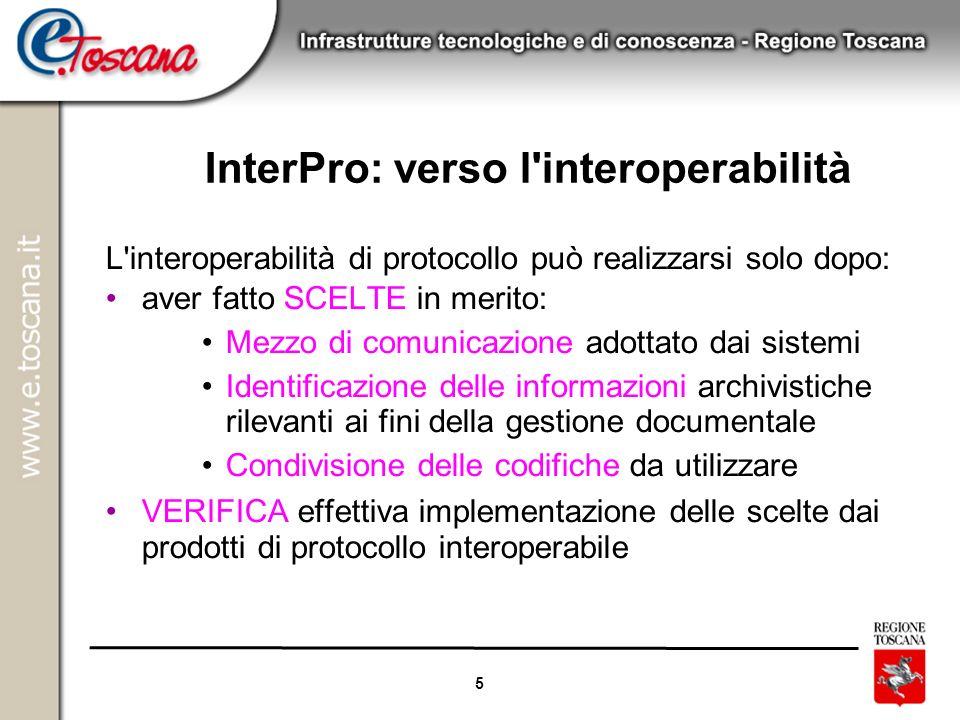 5 InterPro: verso l'interoperabilità L'interoperabilità di protocollo può realizzarsi solo dopo: aver fatto SCELTE in merito: Mezzo di comunicazione a