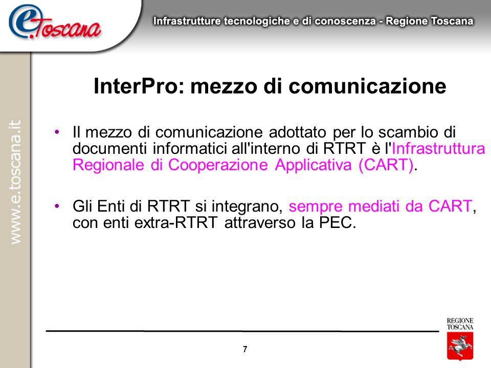 7 InterPro: mezzo di comunicazione Il mezzo di comunicazione adottato per lo scambio di documenti informatici all'interno di RTRT è l'Infrastruttura R