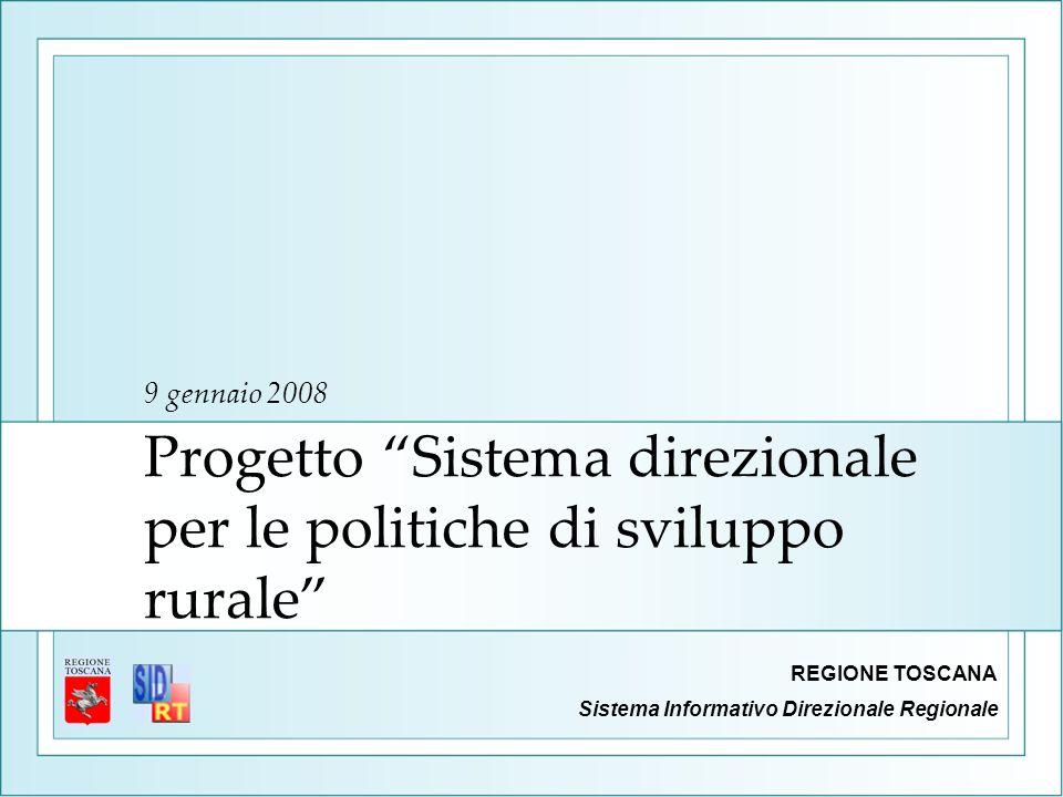 Progetto Sistema direzionale per le politiche di sviluppo rurale 9 gennaio 2008 Sistema Informativo Direzionale Regionale REGIONE TOSCANA