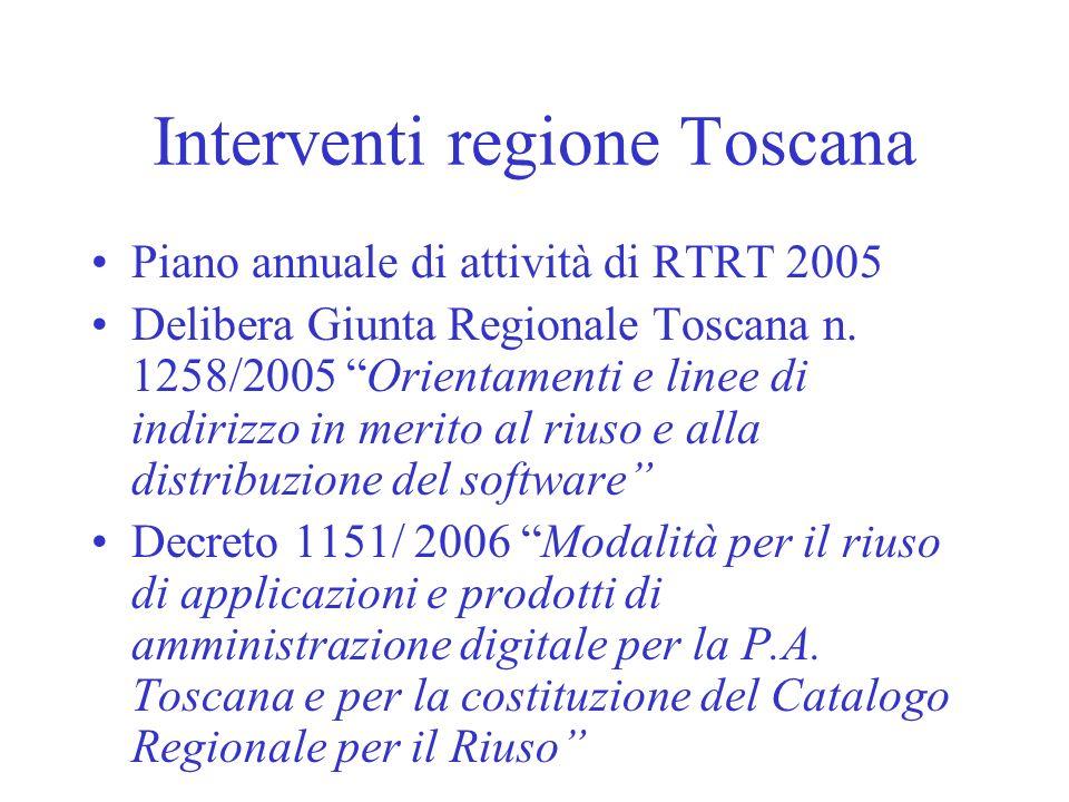 Interventi regione Toscana Piano annuale di attività di RTRT 2005 Delibera Giunta Regionale Toscana n. 1258/2005 Orientamenti e linee di indirizzo in