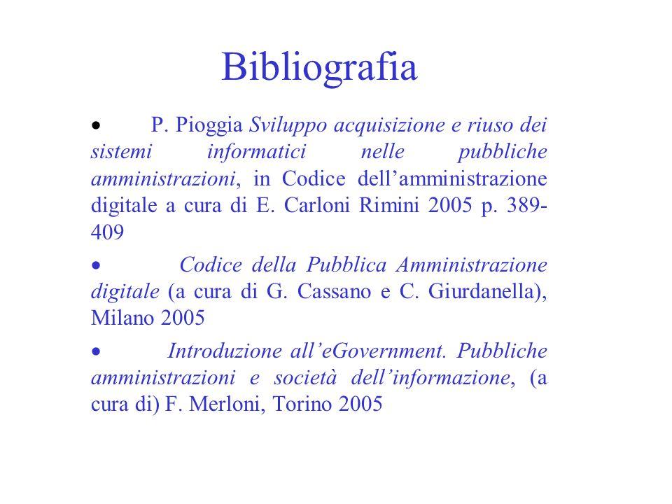 Bibliografia P. Pioggia Sviluppo acquisizione e riuso dei sistemi informatici nelle pubbliche amministrazioni, in Codice dellamministrazione digitale