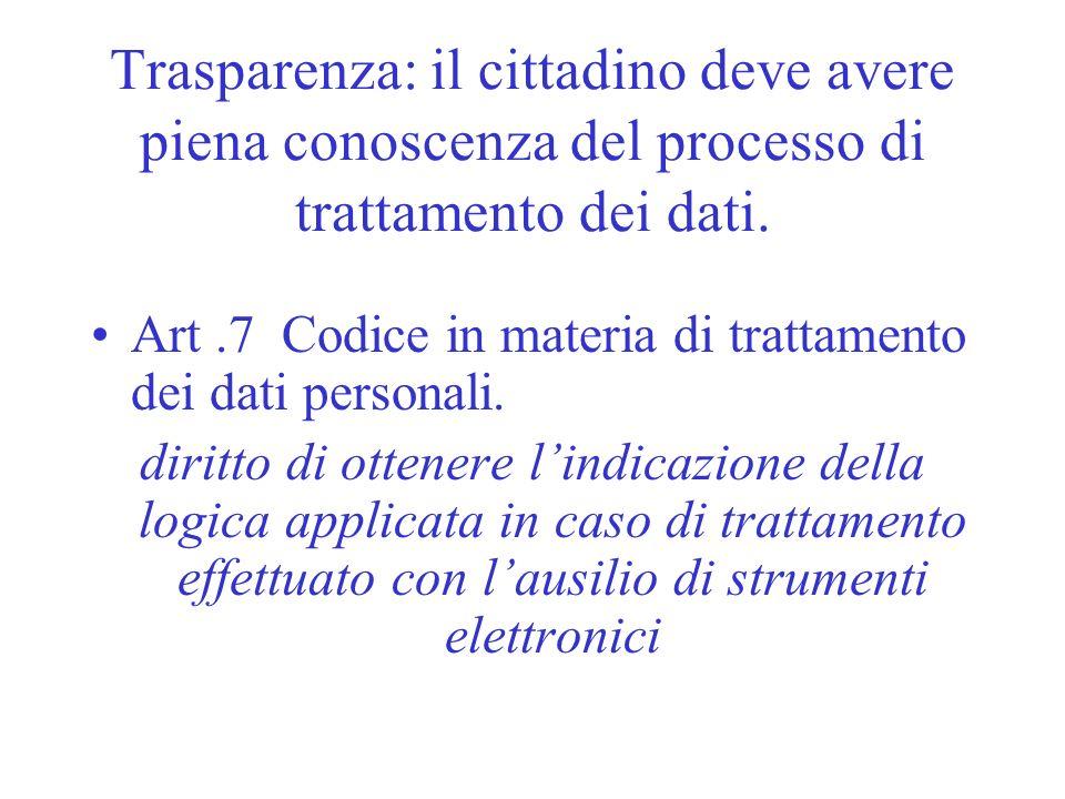 Trasparenza: il cittadino deve avere piena conoscenza del processo di trattamento dei dati. Art.7 Codice in materia di trattamento dei dati personali.