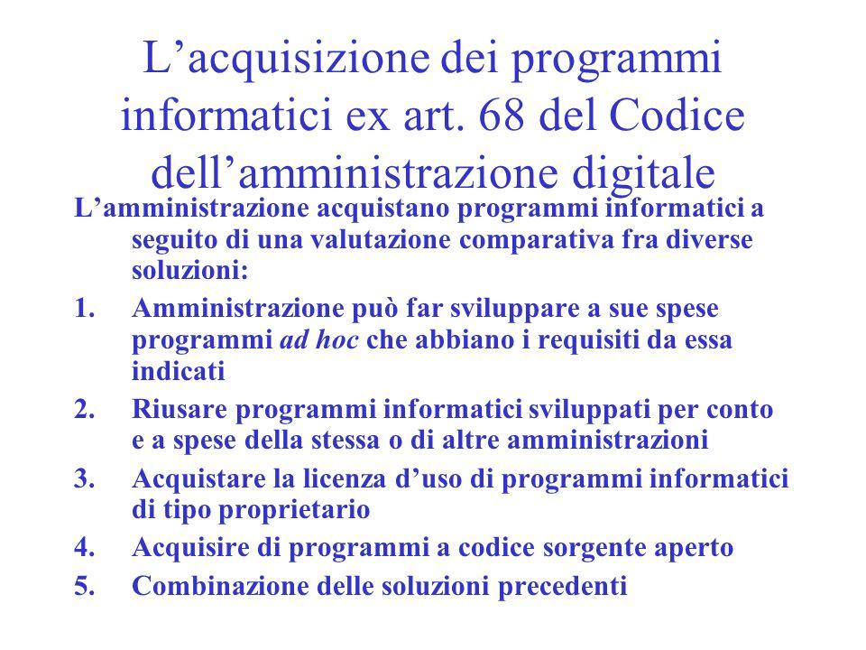 Lacquisizione dei programmi informatici ex art. 68 del Codice dellamministrazione digitale Lamministrazione acquistano programmi informatici a seguito