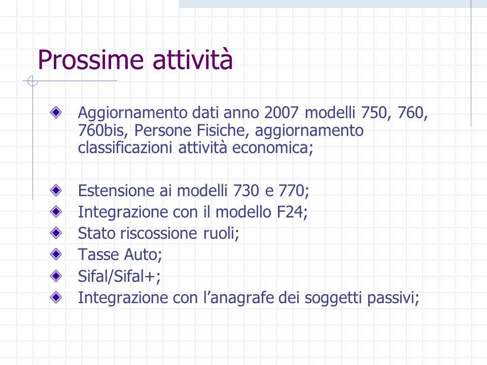 Prossime attività Aggiornamento dati anno 2007 modelli 750, 760, 760bis, Persone Fisiche, aggiornamento classificazioni attività economica; Estensione