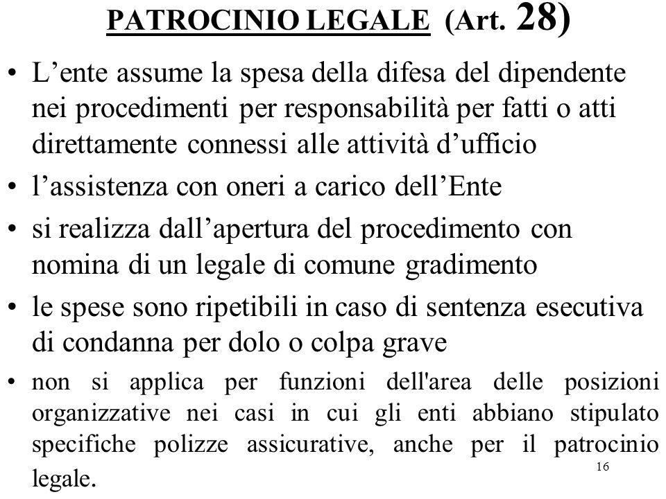 16 PATROCINIO LEGALE (Art.