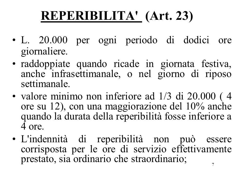 7 REPERIBILITA (Art. 23) L. 20.000 per ogni periodo di dodici ore giornaliere.