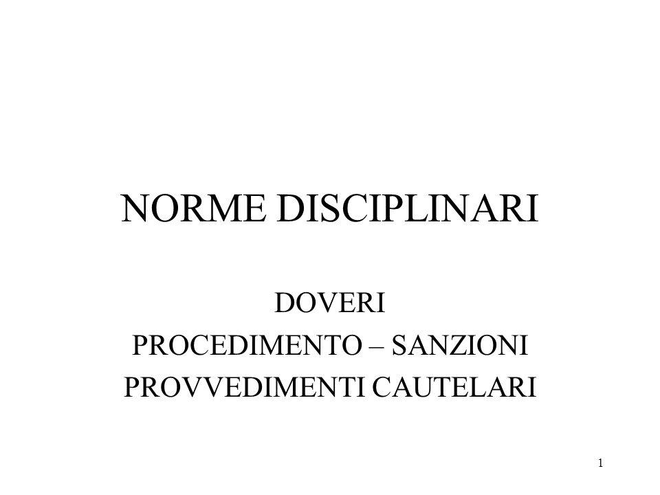 1 NORME DISCIPLINARI DOVERI PROCEDIMENTO – SANZIONI PROVVEDIMENTI CAUTELARI
