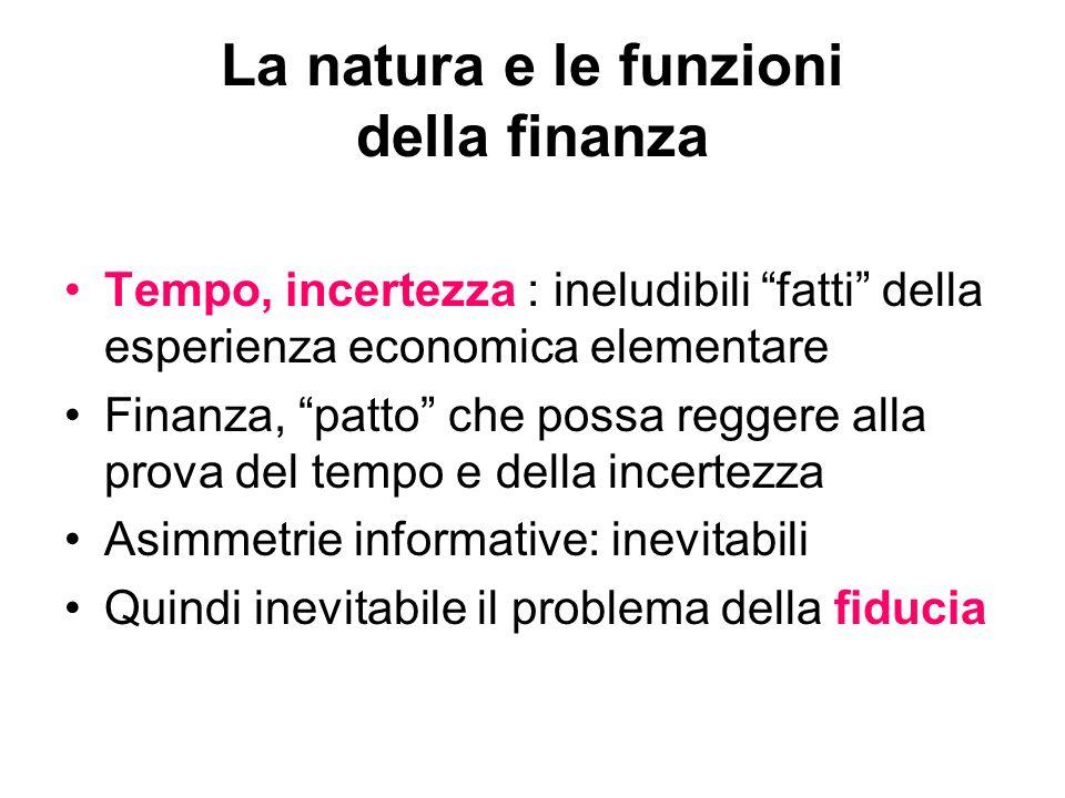 La natura e le funzioni della finanza Tempo, incertezza : ineludibili fatti della esperienza economica elementare Finanza, patto che possa reggere all