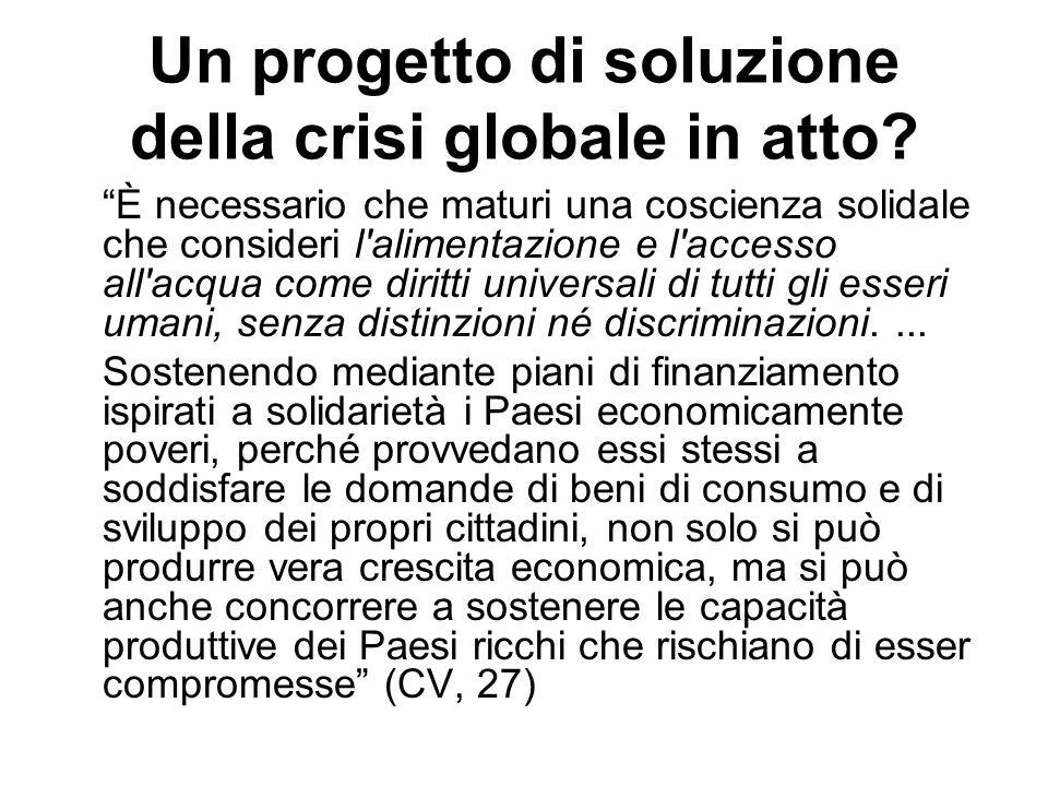 Un progetto di soluzione della crisi globale in atto? È necessario che maturi una coscienza solidale che consideri l'alimentazione e l'accesso all'acq