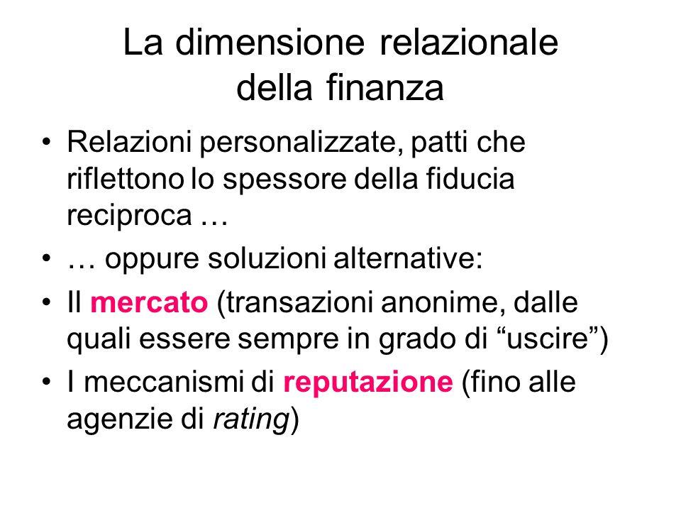 La dimensione relazionale della finanza Relazioni personalizzate, patti che riflettono lo spessore della fiducia reciproca … … oppure soluzioni altern