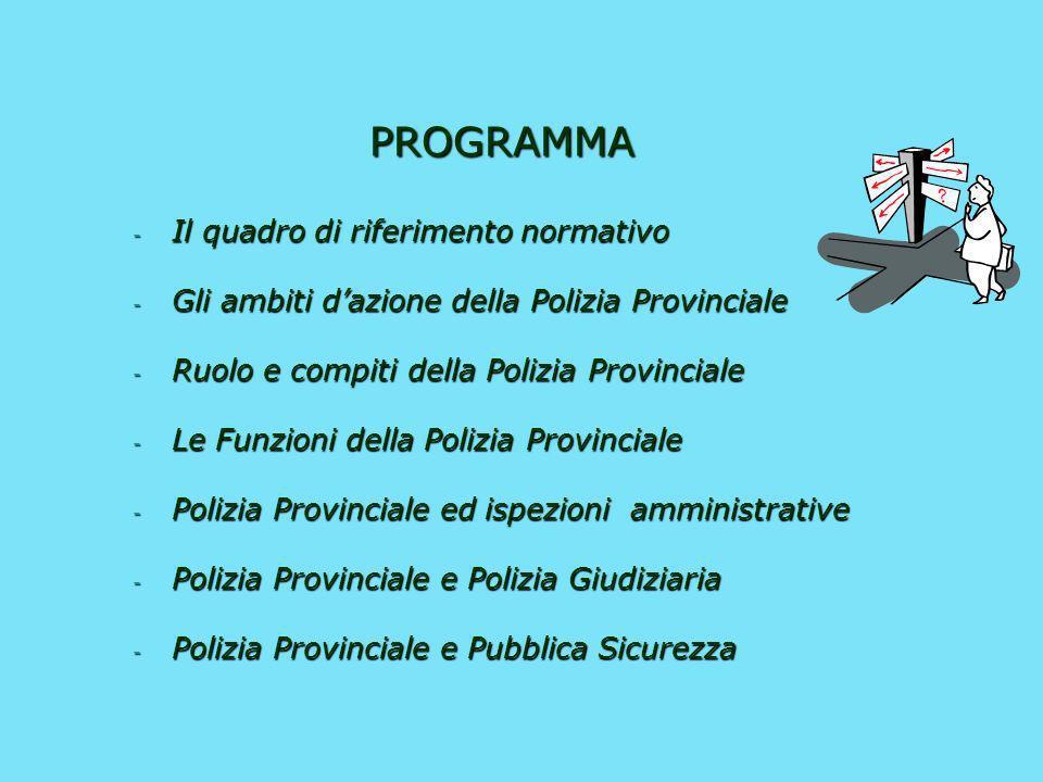 LA POLIZIA PROVINCIALE opportunità e vincoli La La guardia provinciale quale ispettore amministrativo