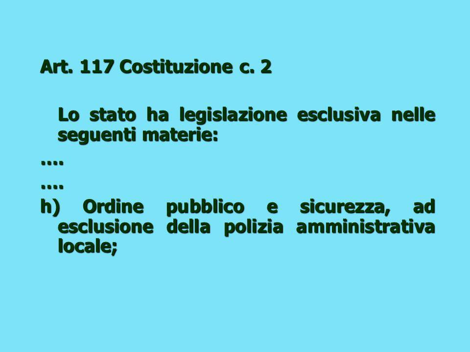 Art.117 Costituzione c. 2 Lo stato ha legislazione esclusiva nelle seguenti materie: ….….