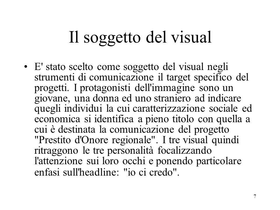 7 Il soggetto del visual E stato scelto come soggetto del visual negli strumenti di comunicazione il target specifico del progetti.