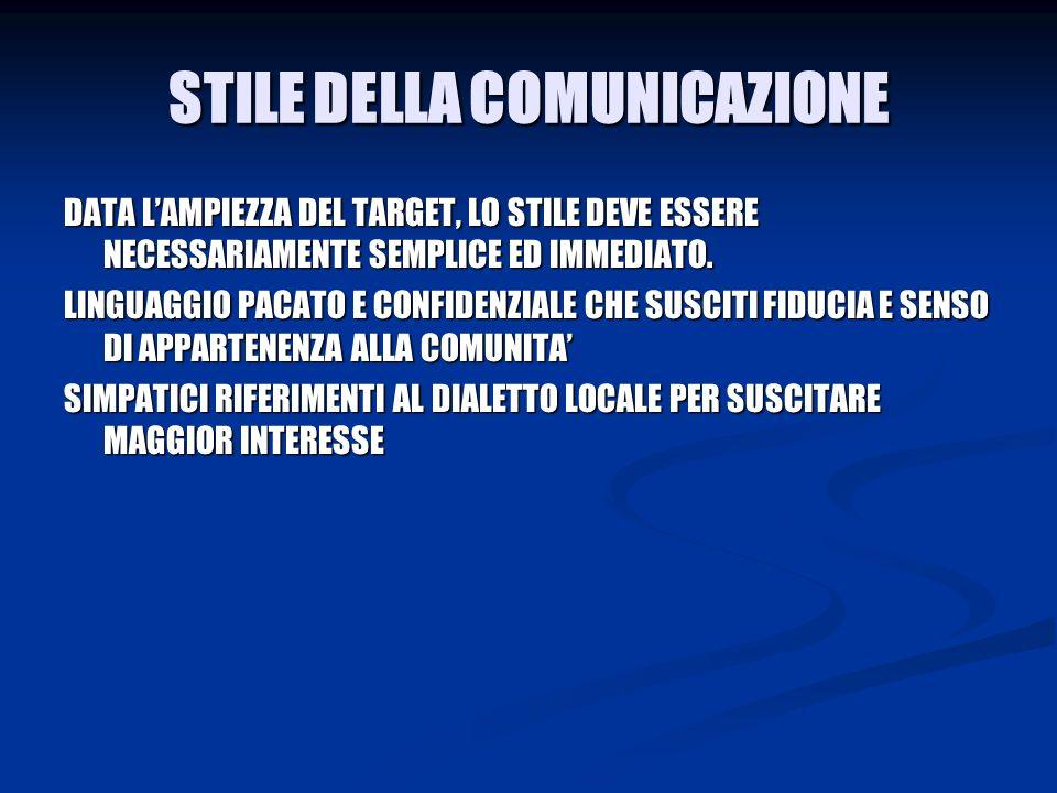 STILE DELLA COMUNICAZIONE DATA LAMPIEZZA DEL TARGET, LO STILE DEVE ESSERE NECESSARIAMENTE SEMPLICE ED IMMEDIATO.
