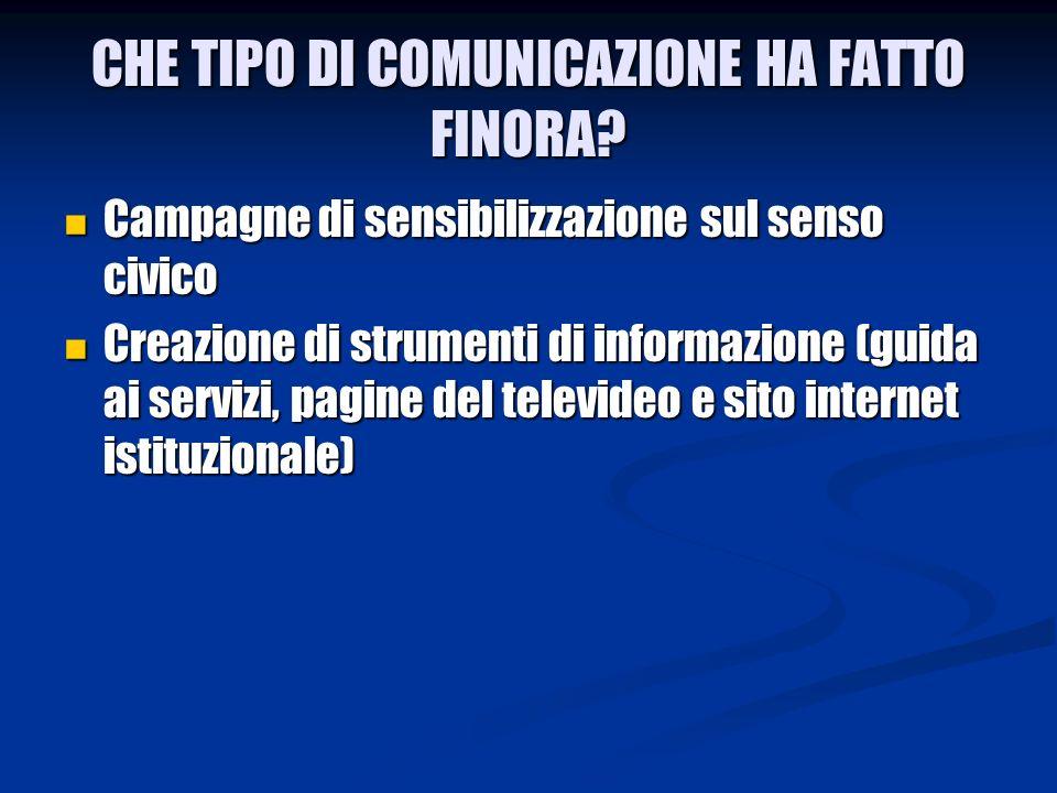 CHE TIPO DI COMUNICAZIONE HA FATTO FINORA.