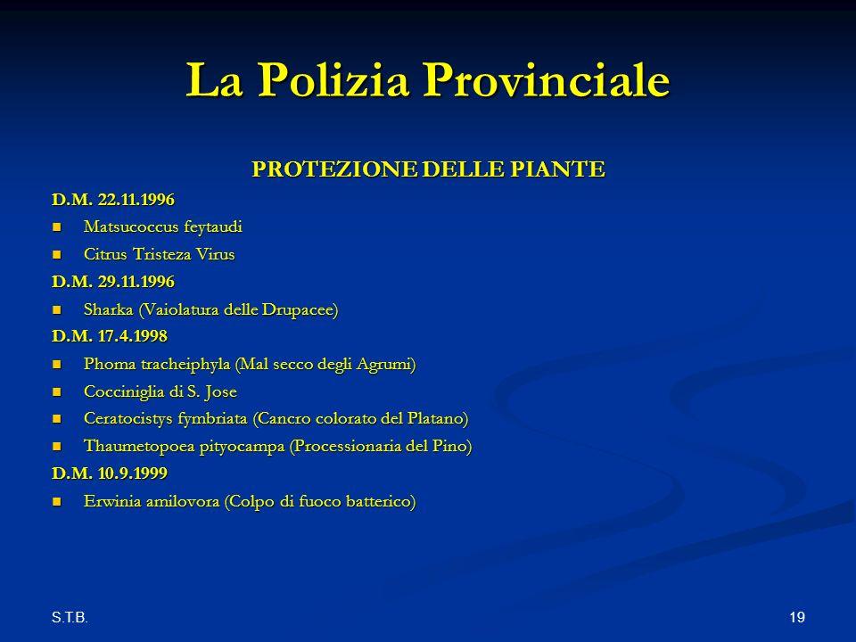 S.T.B. 19 La Polizia Provinciale PROTEZIONE DELLE PIANTE D.M.