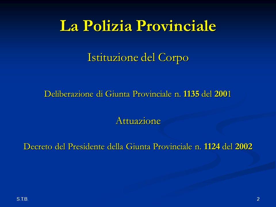 S.T.B. 2 La Polizia Provinciale Istituzione del Corpo Deliberazione di Giunta Provinciale n.