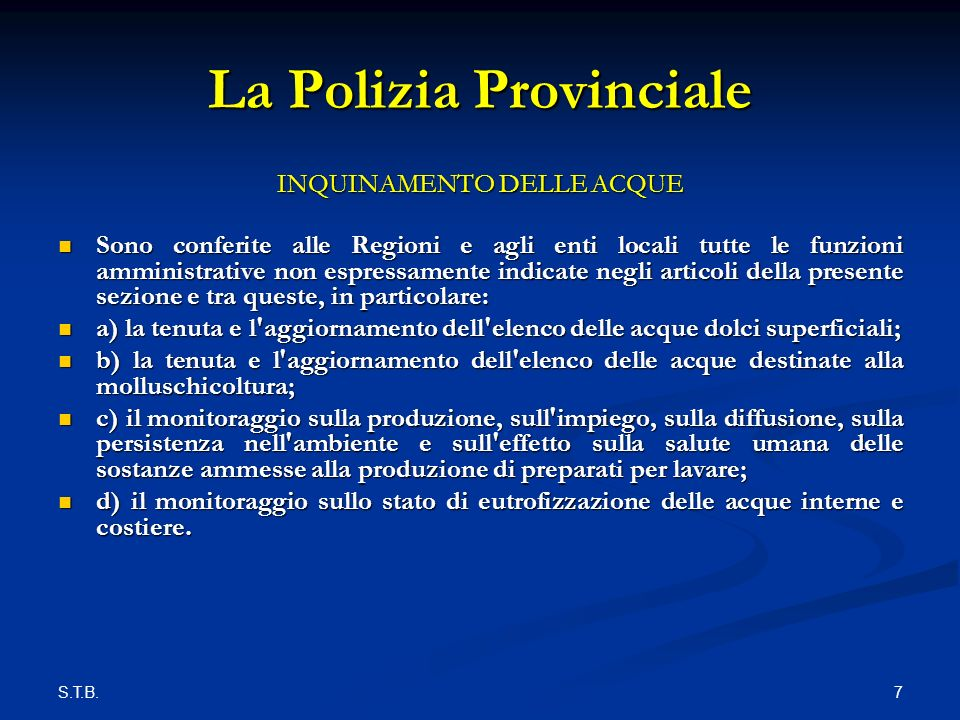 S.T.B.8 La Polizia Provinciale Quadro generale ARIA D.P.R.